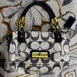 💕Coach Kirsten brown creme medium satchel bag 💕